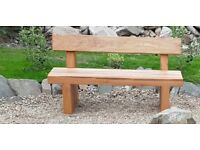 Double oak railway sleeper bench garden furniture set summer furniture sets Loughview Joinery LTD