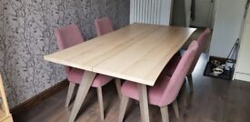 LARGE DINING ROOM TABLE AND FOUR FABRIC CHAIRS,SOLID OAK WITH SCALLOPED EDGE 180 X 92 CM