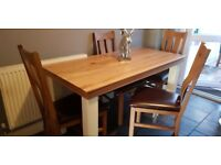 Oak table and chairs from oak land