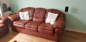 Brown leather sofa - 3 piece suite & arm chair