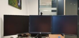 3 Dell 19 inch monitors with Dihl mounting arm stand