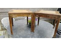 Antique Chinese Elm and Rattan Lamp - Coffee Tables