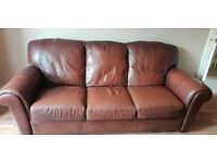 2x 3 seater real leather sofas.