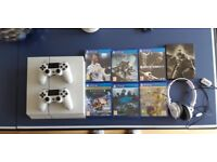 White PS4 7 games 2 controllers and headphones