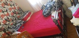 Metal bed frame double bed well looked after, selling due to moving out