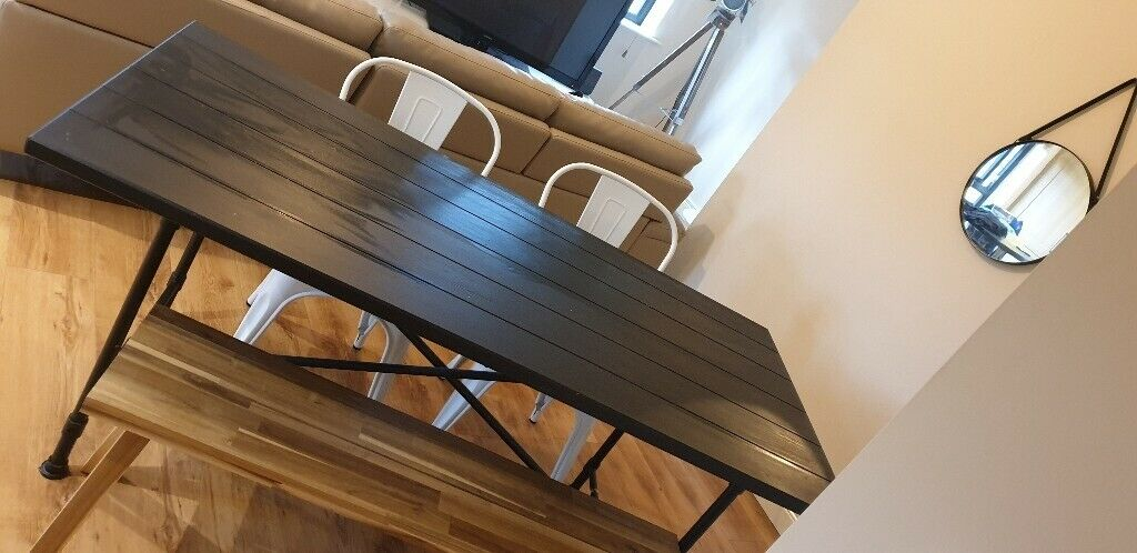 Superb Dining Table Chairs And Bench Industrial Style Black Dining Table With Wooden Bench 2 Chairs In Lisburn County Antrim Gumtree Pdpeps Interior Chair Design Pdpepsorg