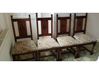 Old Charm Set Of 4 Hand Carved Oak Chairs