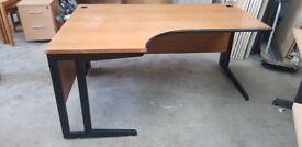 Left Hand Wooden Corner Desk Includes 2 Cable Port Holes