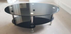 Glass Coffee table Oval black chrome shelf shelve silver Legs draw cabinet wardrobe unit storage tv