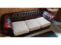 Chesterfield leather sofa, oxblood red,