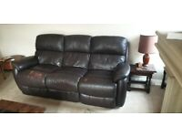 Leather three seat recliner