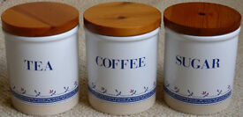 Stoneware coffee, tea and sugar storage jars