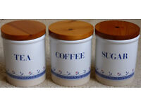 Stoneware coffee, tea and sugar storage jars