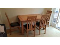 Dining table Extendable (sits 8) Solid oak with 4 chairs