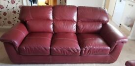 Italian Style leather three seater settee in very good condition SCS
