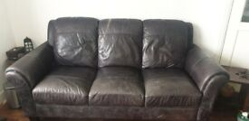 DFS Grey leather sofa set