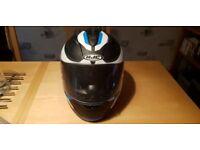 HJC TR1 TR-1 Revolt Black Blue Full Face Motorcycle Crash Helmet Nearly New