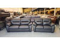 Ex-display Calgary black leather 3+2 seater sofas