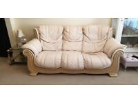 SOFT PINK 3 SEATER SOFA AND CHAIR