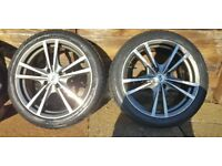 """17"""" BK racing alloys with winter tyres 4x108 £150 ono"""
