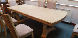 Solid Ash Extendable Dining Table with 6 Chairs