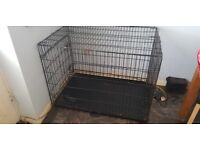 Large Dog Cage and Plastic Bed
