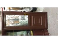 Upvc door with frame brown 32 inches wide x 81 inches high in good condition