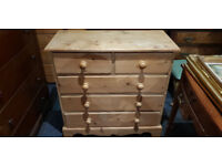 Fabulous Pitch Pine Solid Heavy Two over Three Chest of Drawers