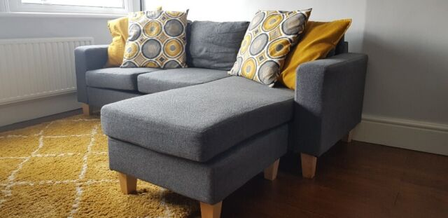 Tremendous Three Seater Corner Sofa With Movable Chaise Charcoal Grey Fabric In Richmond London Gumtree Evergreenethics Interior Chair Design Evergreenethicsorg