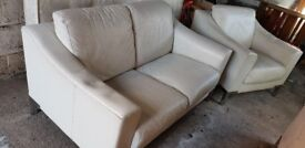 2 + 1 Real Leather Cream sofa