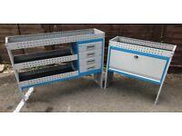Van Racking / Shelving - TEVO - 2 Units - 1 Shelving With Drawers - 1 Cupboard - V G Condition