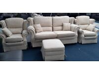 Cream self patterned 3+1+1 seater sofa with footstool