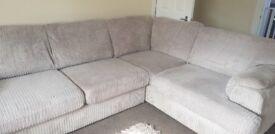 Cream material corner sofa, excellent condition