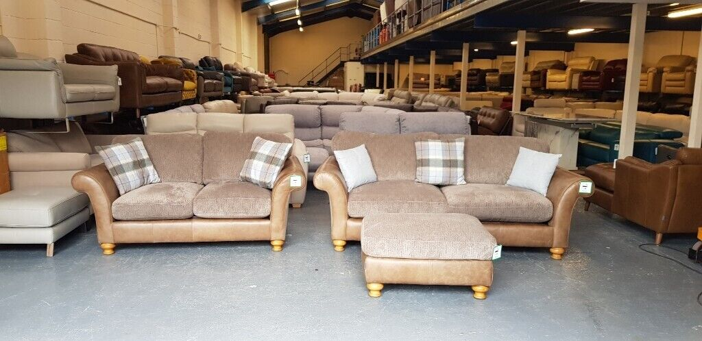Amazing Alexander James Lawrence Brown Leather And Fabric 3 2 Seater Sofas And Puffee In Deeside Flintshire Gumtree Caraccident5 Cool Chair Designs And Ideas Caraccident5Info