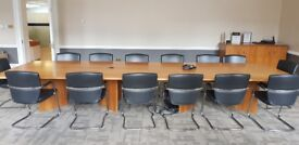 Large Wood Boardroom Table with 14 Leather Chairs & Free Cabinet