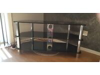 Large black and chrome tv stand