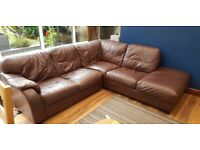 Brown leather corner sofa and stool