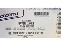 Gavin James x 4 - 9 June O2 SheperdsB @ facevalue