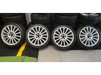 VW R32 Genuine 18 alloy wheels + 4 x tyres 225 40 18 Audi VW Skoda Seat