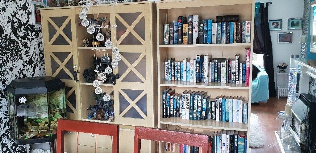 Matching Solid Wood 3 Piece Living Room Furniture Bookshelf Display Unit Tv Dvd