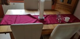 Oak Dining Table & 6 Cream leather Chairs