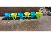 6 bright colours Fence/ Balcony pots