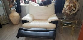 For sale electric black/white leather recliner