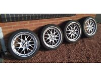 """5x112 18"""" BBS RS GT replica alloy wheels with good tyres"""