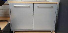 Grey Storage Cabinet With A Wooden Top- Includes 1 Shelve