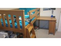 Kids mid sleeper bed with pull out desk