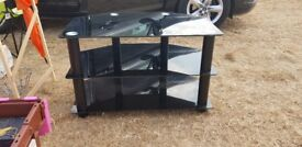 3 tiered black glass TV stand