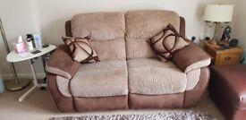 Brown fabric 2 seater manual recliner sofa