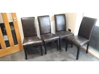 Sale of 4 Brown Faux Leather Dining Room Chairs @ £40
