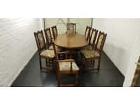 Old Charm Oak Extending Table And 8 Chairs